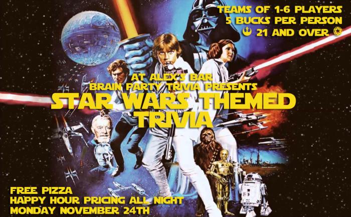 BRAIN PARTY TRIVIA NIGHT- *** SPECIAL STAR WARS THEMED TRIVIA!!!!!