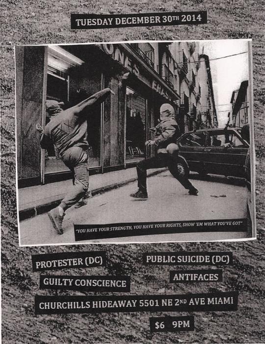 Levitating Duende presents: Protester (dc), Public Suicide (dc), Guilty Conscience & Antifaces