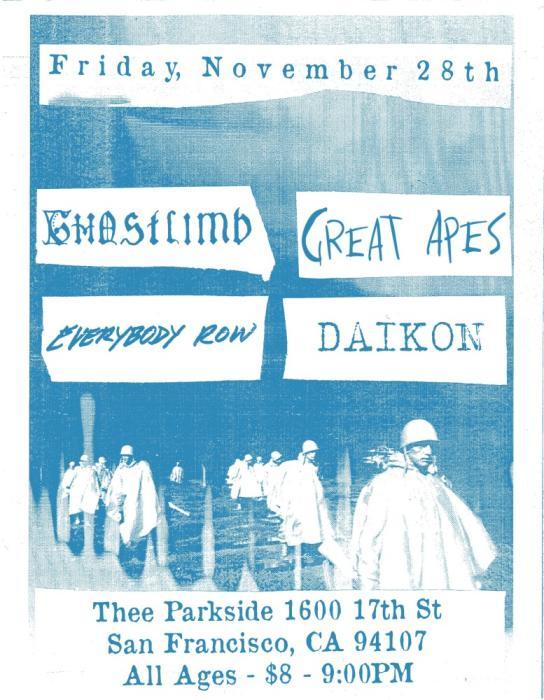 Ghostlimb, Great Apes, Everybody Row, Daikon
