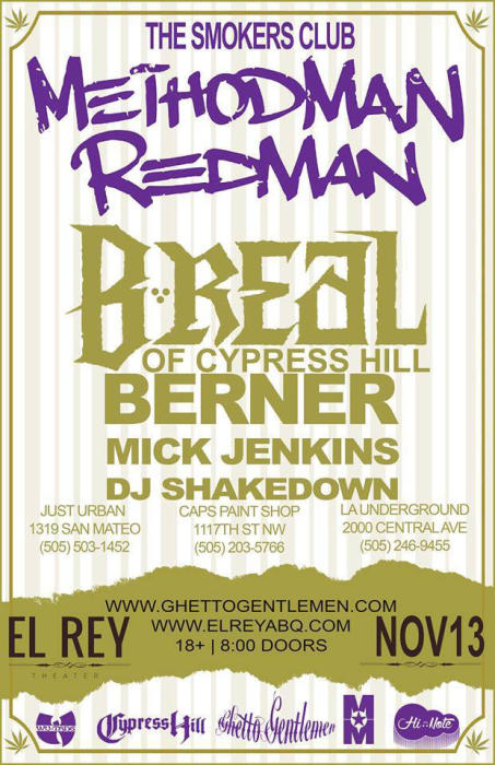 The Smokers Club Tour w/ METHODMAN & REDMAN, B-REAL, & BERNER