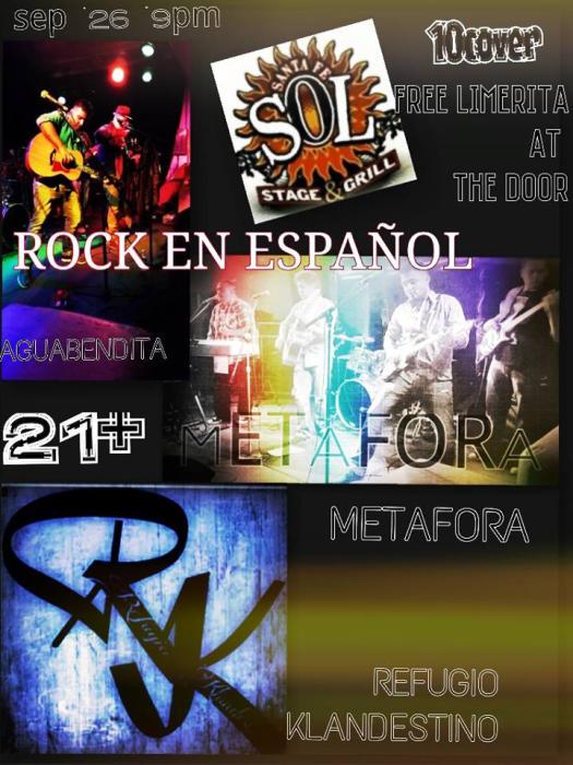 Rock en Espanol conAgua BEndita, Metafora,Refuguio Clandestino