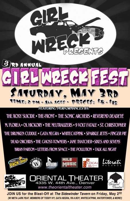 3rd Annual Girl Wreck Fest! Feat. The Roxy Suicide*The-Front*The Sonic Archers*Reverend Deadeye*M.Florea*Ol Hickory*The Neutralizers*9 Volt Fatale*St. Christopher
