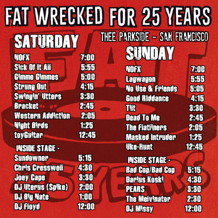 Thee Parkside Fat Wrecked For 25 Years Fat Wreck Chords 25th