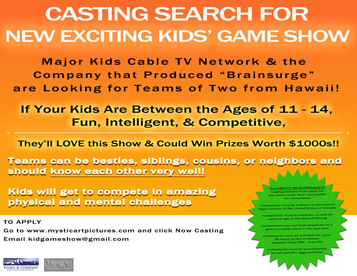 Wanted: Game Show Contestents (Youth Pairs, ages 11-14)