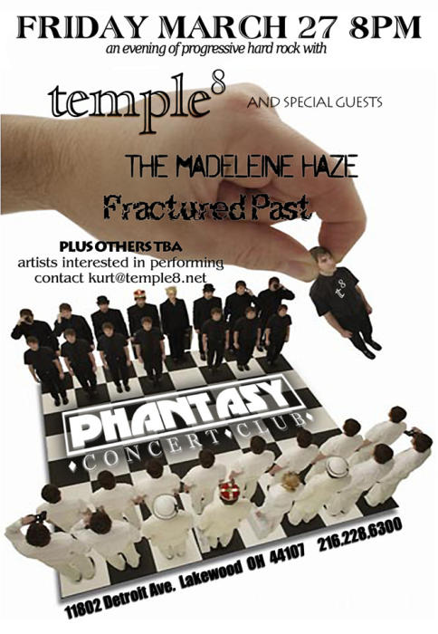 TEMPLE 8 / FRACTURED PAST/ with Special Guests  MADELINE HAZE