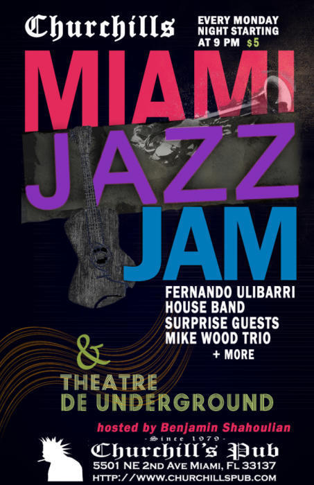 The Miami Jazz Jam with the Fernando Ulibarri Group, Surprise Guests, The Mike Wood Trio, and on the patio stage it
