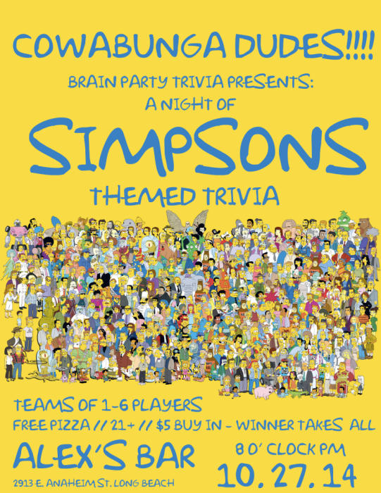 BRAIN PARTY TRIVIA NIGHT- HOSTED BY PHIL ACOSTA ***** SPECIAL SIMPSONS THEMED TRIVIA NIGHT