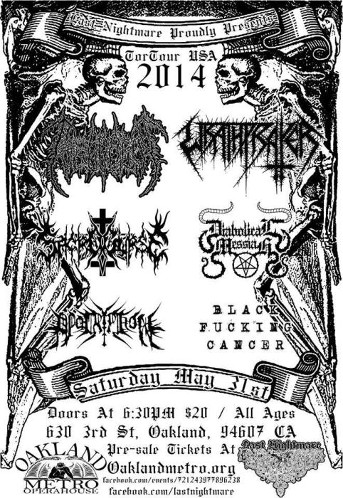 PSEUDOGOD (Russia), WRATHPRAYER (Chile), DIABOLICAL MESSIAH (Chile), SACROCURSE (Mexico), APOCRYPHON, BLACK FUCKING CANCER