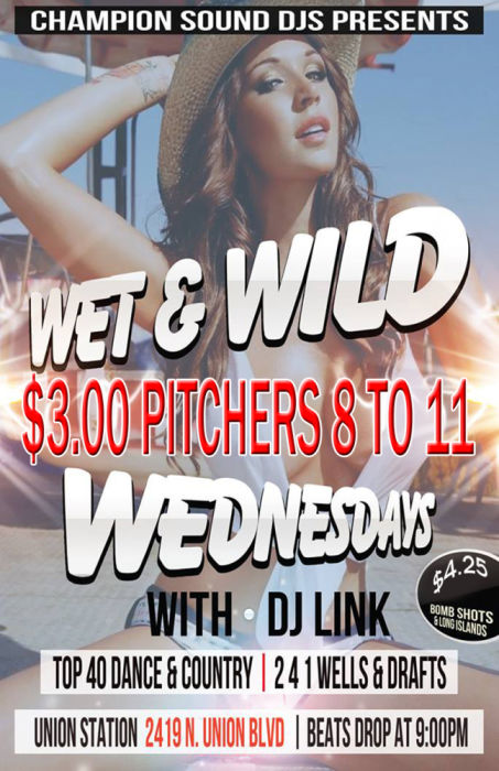 $3.00 PITCHERS Wet & Wild Wednesdays