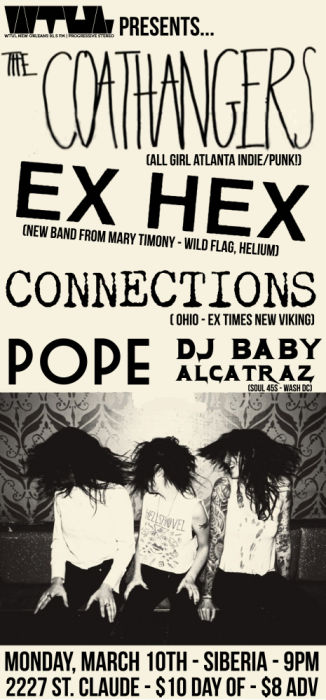 WTUL presents: The Coathangers | Ex Hex | Connections | Pope | DJ Baby Alcatraz