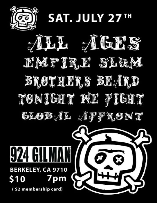 All Ages, Empire Slum, Brothers Beard, Tonight We Fight (Vegas), Global Affront