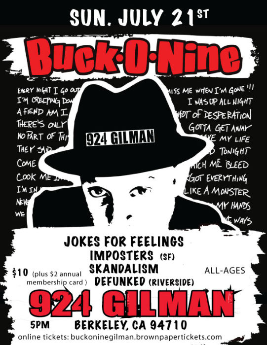 Ska Night:  Buck-O-Nine, Jokes for Feelings, Imposters (SF), Skandalism, Defunked