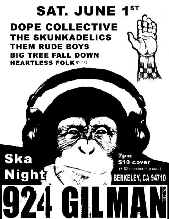 Ska Night: Dope Collective, The Skunkadelics, Them Rude Boys, Big Tree Fall Down, Heartless Folk and Skank Bank