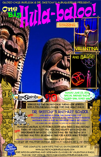 One Big Hula-Baloo! featuring Burlesque, Hoop and sideshow sensations...Valentina and Bags!