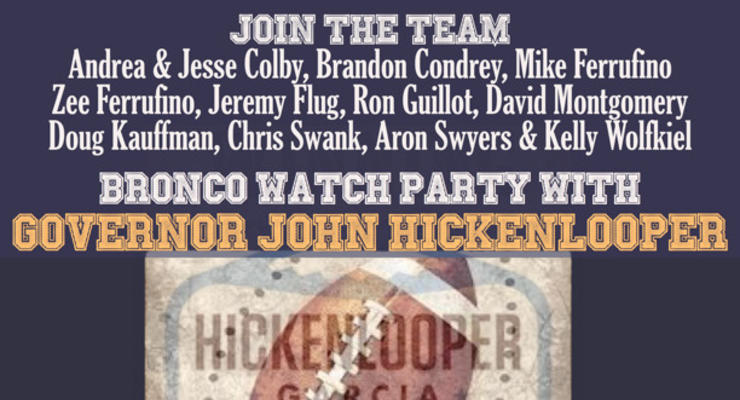 Bronco Watch Party with Governor Hickenlooper